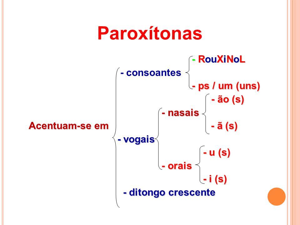 Paroxítonas - RouXiNoL - consoantes - ps / um (uns) - ão (s) - nasais