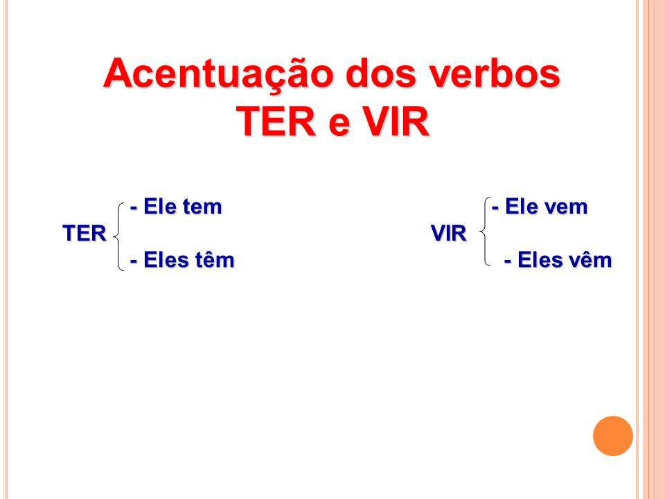 Acentuação dos verbos TER e VIR