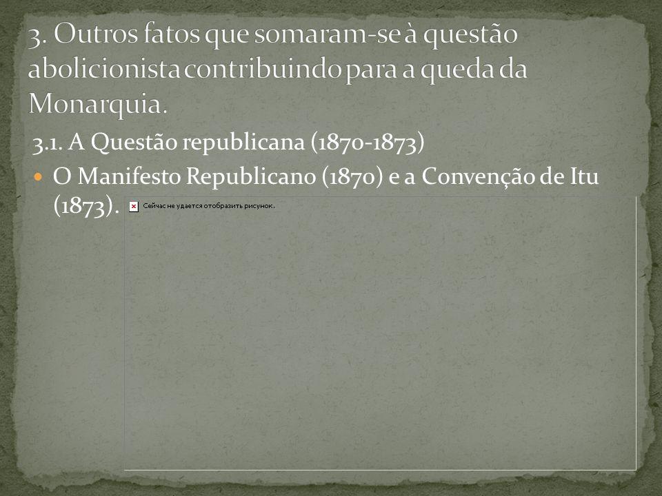3. Outros fatos que somaram-se à questão abolicionista contribuindo para a queda da Monarquia.
