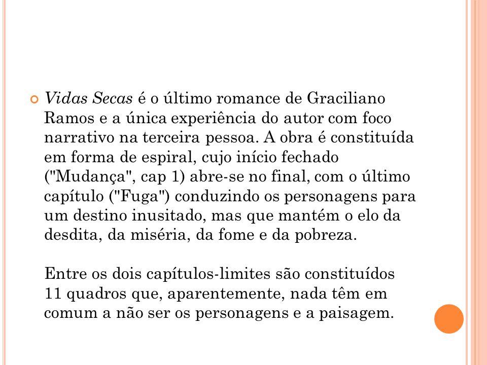 Vidas Secas é o último romance de Graciliano Ramos e a única experiência do autor com foco narrativo na terceira pessoa.