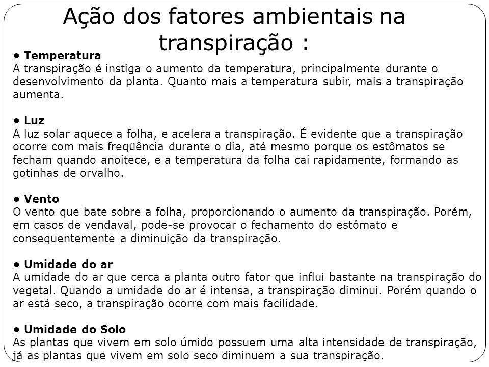 Ação dos fatores ambientais na transpiração :