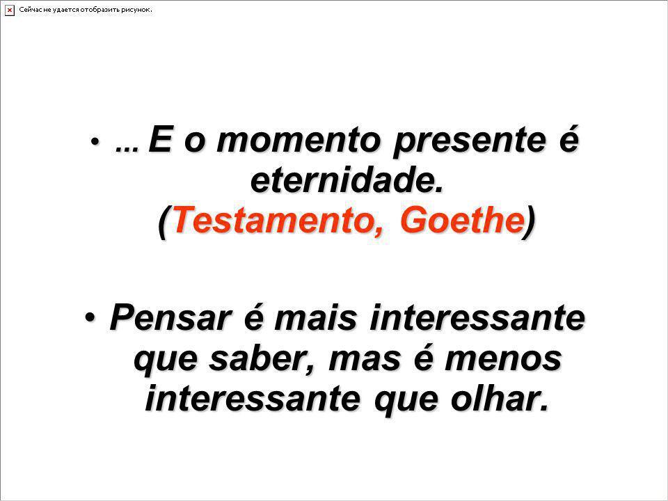 ... E o momento presente é eternidade. (Testamento, Goethe)