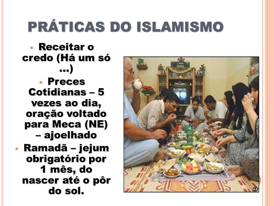 PRÁTICAS DO ISLAMISMO Receitar o credo (Há um só ...)