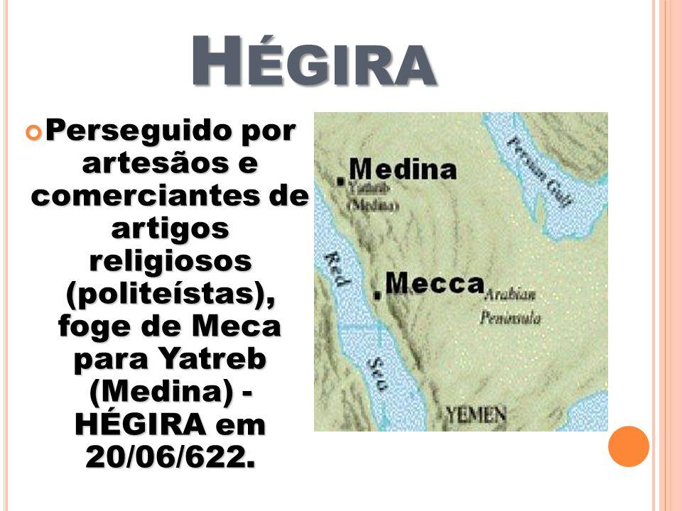 Hégira Perseguido por artesãos e comerciantes de artigos religiosos (politeístas), foge de Meca para Yatreb (Medina) - HÉGIRA em 20/06/622.