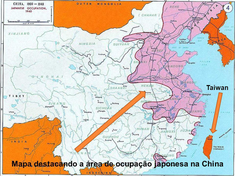 Mapa destacando a área de ocupação japonesa na China