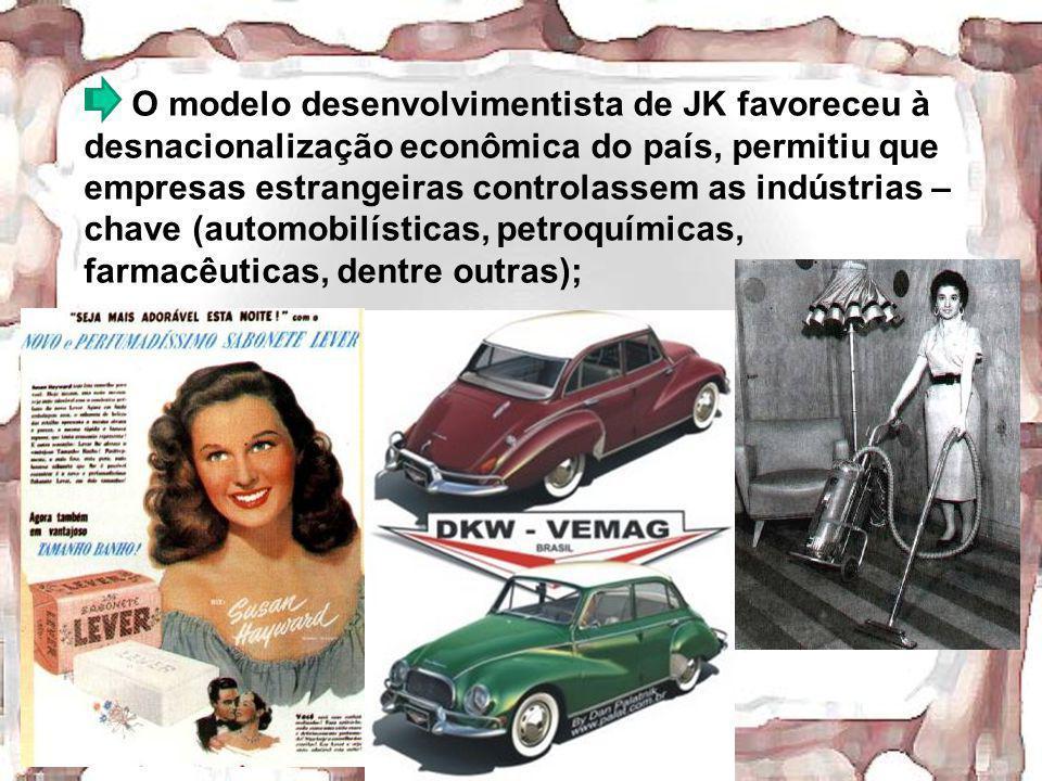 O modelo desenvolvimentista de JK favoreceu à desnacionalização econômica do país, permitiu que empresas estrangeiras controlassem as indústrias – chave (automobilísticas, petroquímicas, farmacêuticas, dentre outras);