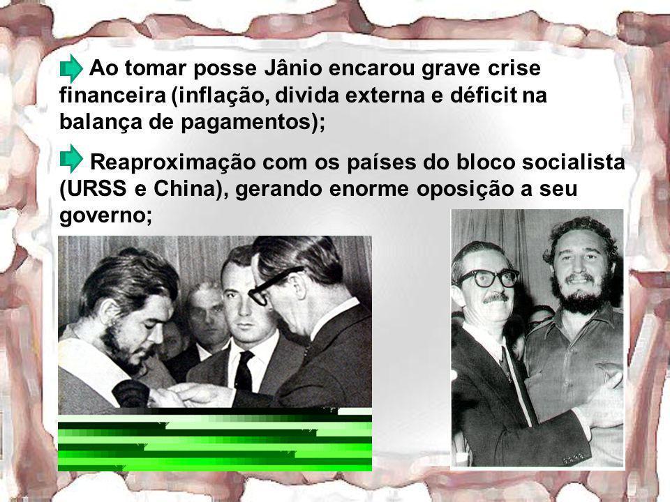 Ao tomar posse Jânio encarou grave crise financeira (inflação, divida externa e déficit na balança de pagamentos);