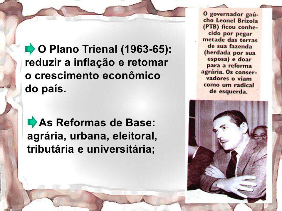 O Plano Trienal (1963-65): reduzir a inflação e retomar o crescimento econômico do país.