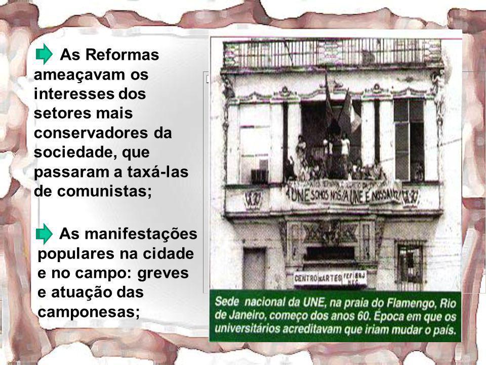 As Reformas ameaçavam os interesses dos setores mais conservadores da sociedade, que passaram a taxá-las de comunistas;