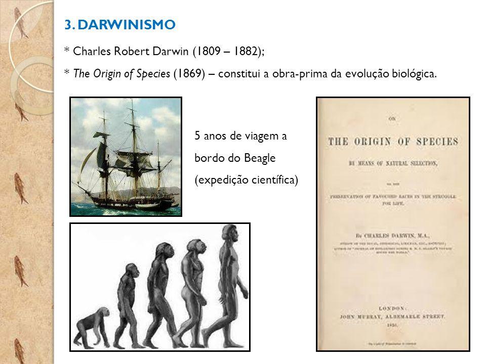 3. DARWINISMO * Charles Robert Darwin (1809 – 1882);
