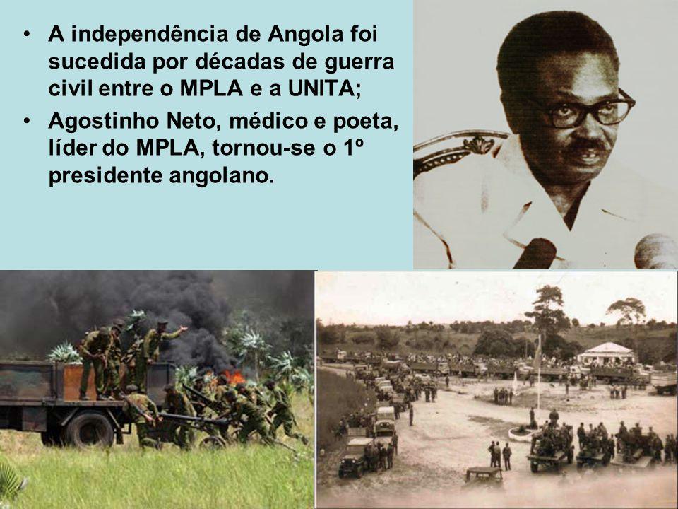 A independência de Angola foi sucedida por décadas de guerra civil entre o MPLA e a UNITA;