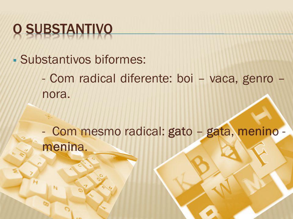 O substantivo Substantivos biformes: