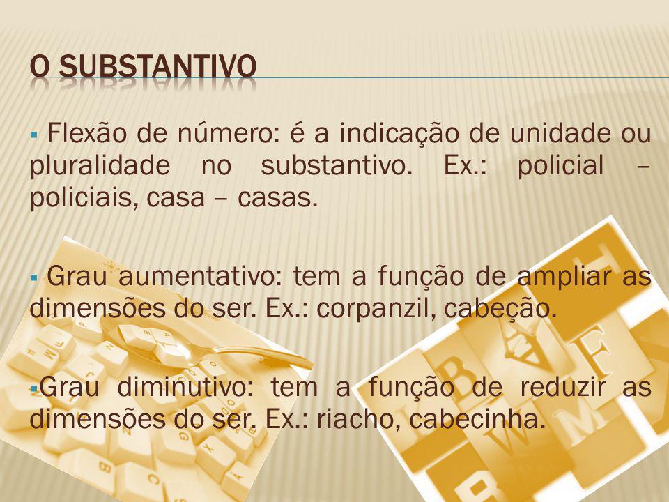 O substantivo Flexão de número: é a indicação de unidade ou pluralidade no substantivo. Ex.: policial – policiais, casa – casas.
