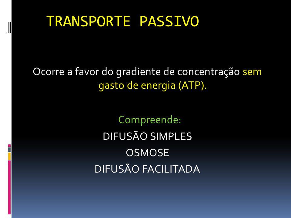 TRANSPORTE PASSIVO Compreende: