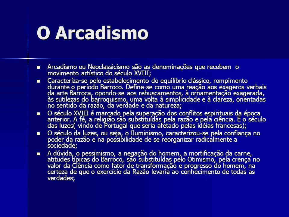 O Arcadismo Arcadismo ou Neoclassicismo são as denominações que recebem o movimento artístico do século XVIII;