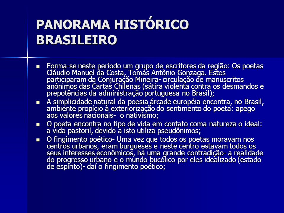 PANORAMA HISTÓRICO BRASILEIRO