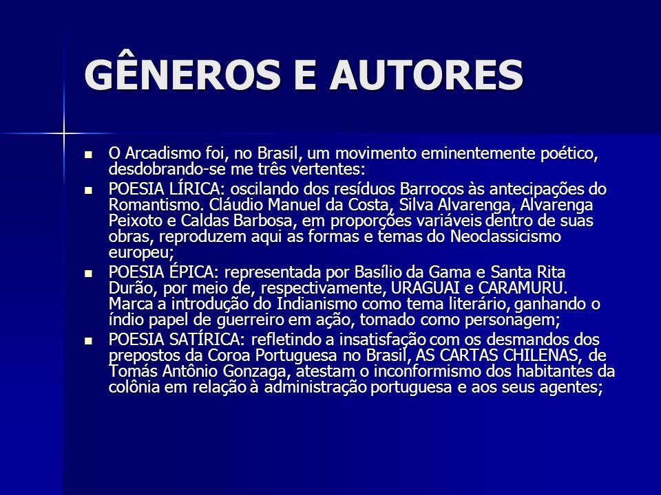 GÊNEROS E AUTORES O Arcadismo foi, no Brasil, um movimento eminentemente poético, desdobrando-se me três vertentes: