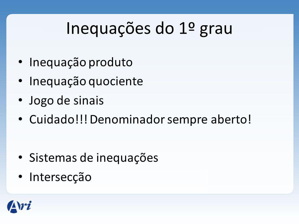 Inequações do 1º grau Inequação produto Inequação quociente
