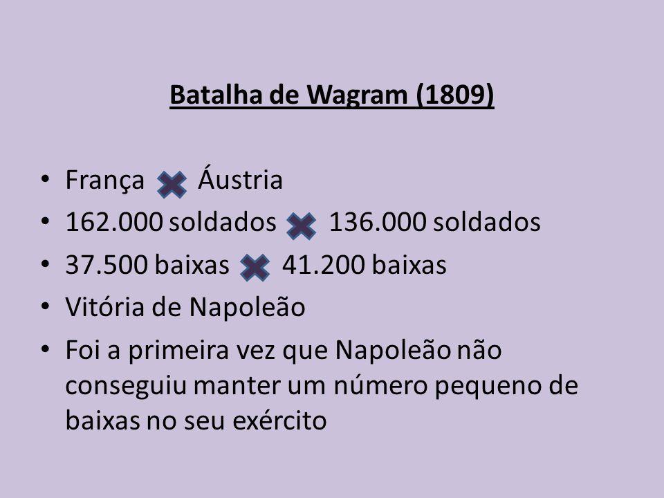 Batalha de Wagram (1809) França Áustria. 162.000 soldados 136.000 soldados. 37.500 baixas 41.200 baixas.