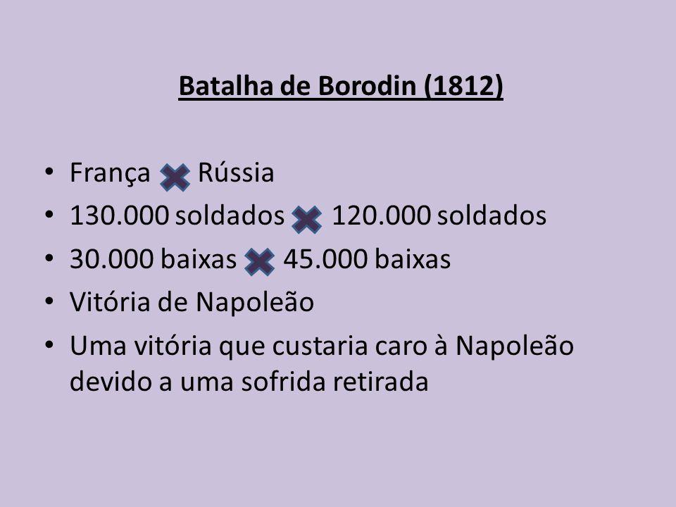 Batalha de Borodin (1812) França Rússia. 130.000 soldados 120.000 soldados. 30.000 baixas 45.000 baixas.