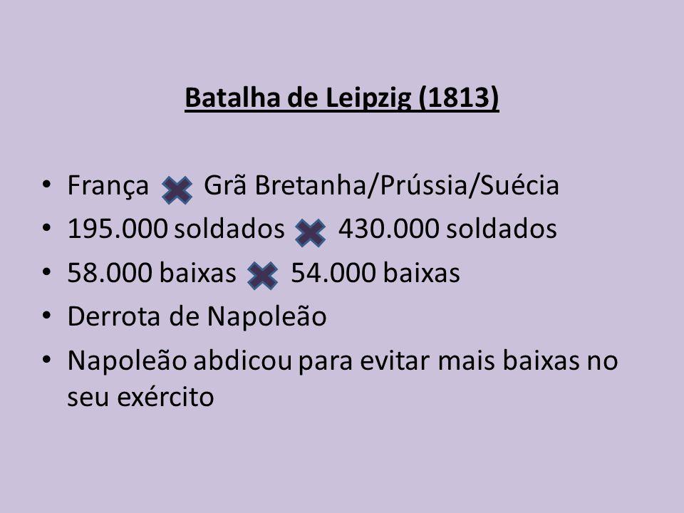 Batalha de Leipzig (1813) França Grã Bretanha/Prússia/Suécia. 195.000 soldados 430.000 soldados.