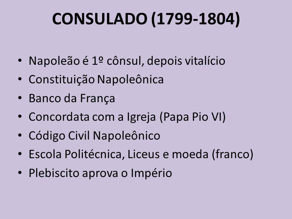 CONSULADO (1799-1804) Napoleão é 1º cônsul, depois vitalício