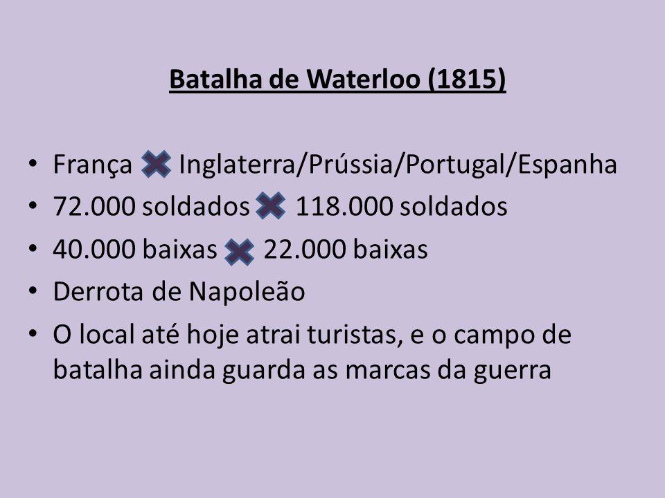 Batalha de Waterloo (1815) França Inglaterra/Prússia/Portugal/Espanha. 72.000 soldados 118.000 soldados.