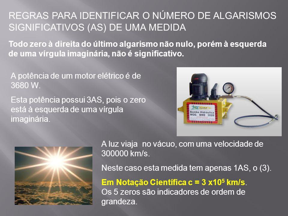 REGRAS PARA IDENTIFICAR O NÚMERO DE ALGARISMOS SIGNIFICATIVOS (AS) DE UMA MEDIDA
