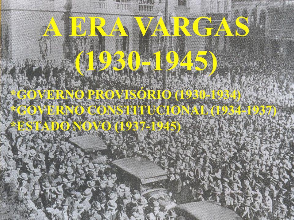 A ERA VARGAS (1930-1945) *GOVERNO PROVISÓRIO (1930-1934)