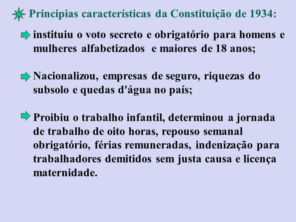 Principias características da Constituição de 1934: