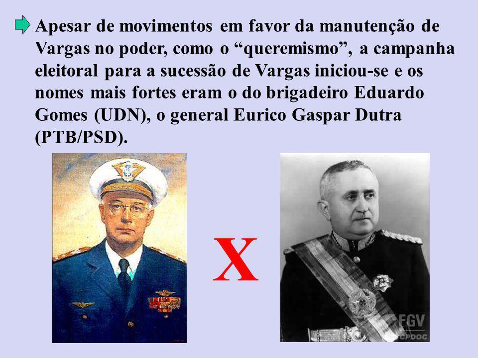 Apesar de movimentos em favor da manutenção de Vargas no poder, como o queremismo , a campanha eleitoral para a sucessão de Vargas iniciou-se e os nomes mais fortes eram o do brigadeiro Eduardo Gomes (UDN), o general Eurico Gaspar Dutra (PTB/PSD).