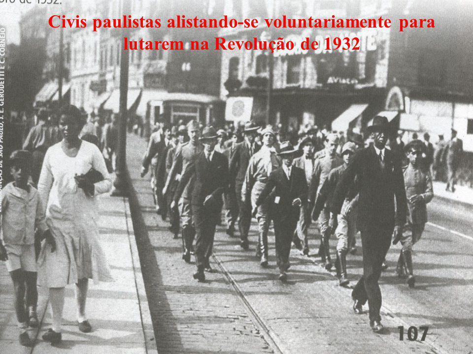 Civis paulistas alistando-se voluntariamente para lutarem na Revolução de 1932