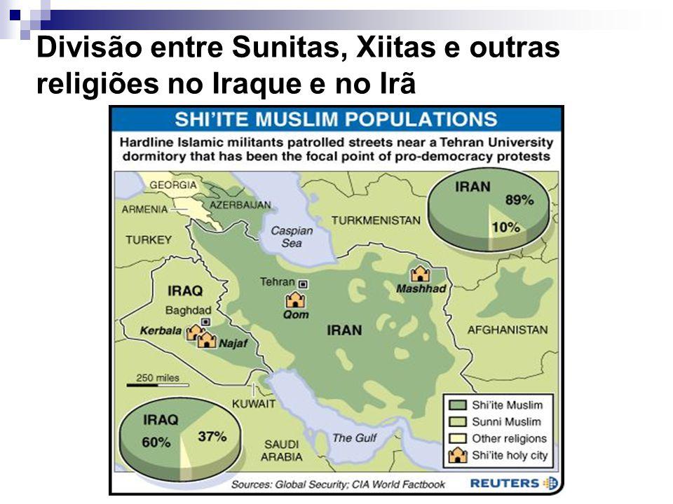 Divisão entre Sunitas, Xiitas e outras religiões no Iraque e no Irã