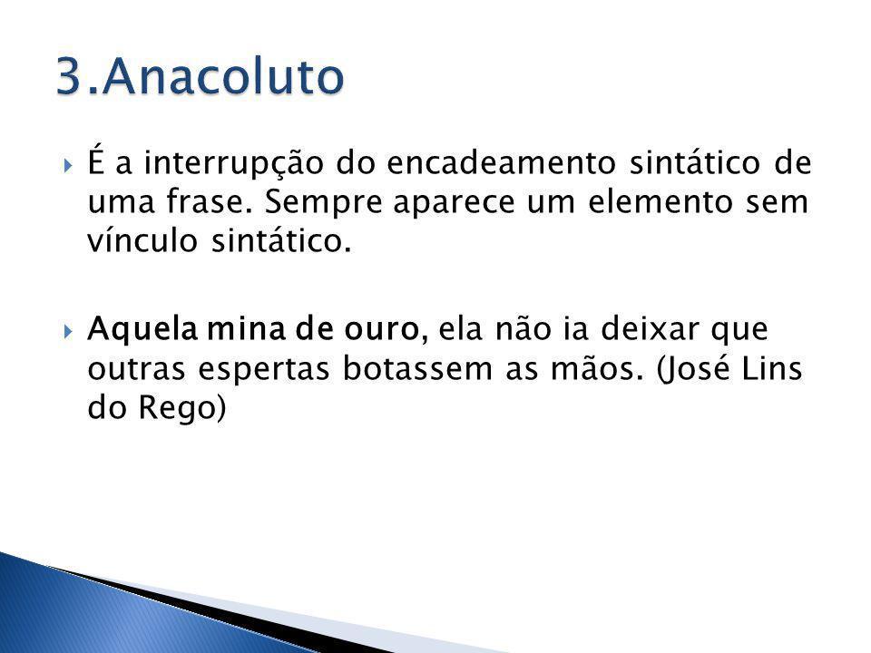 3.Anacoluto É a interrupção do encadeamento sintático de uma frase. Sempre aparece um elemento sem vínculo sintático.