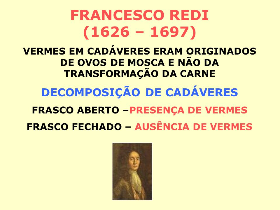 FRANCESCO REDI (1626 – 1697) DECOMPOSIÇÃO DE CADÁVERES