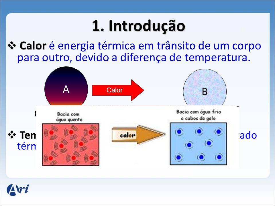 1. Introdução Calor é energia térmica em trânsito de um corpo para outro, devido a diferença de temperatura.