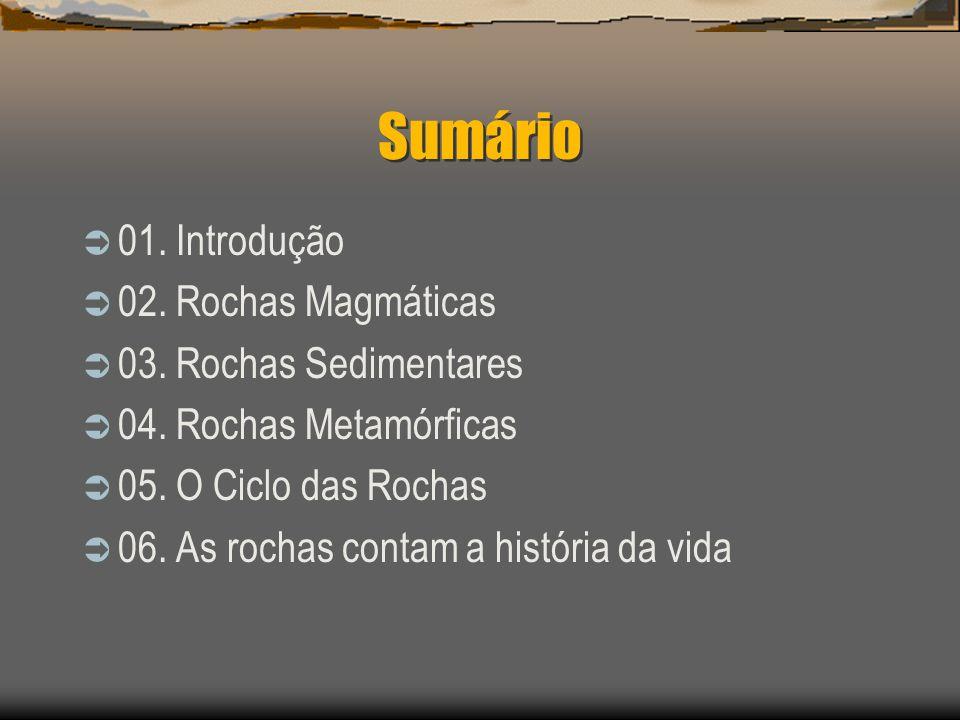 Sumário 01. Introdução 02. Rochas Magmáticas 03. Rochas Sedimentares