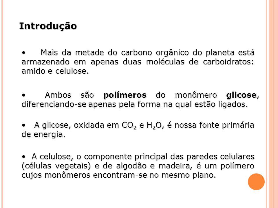 Introdução • Mais da metade do carbono orgânico do planeta está armazenado em apenas duas moléculas de carboidratos: amido e celulose.