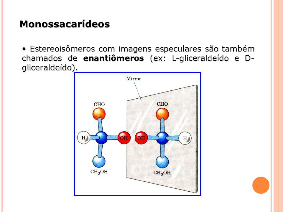 Monossacarídeos • Estereoisômeros com imagens especulares são também chamados de enantiômeros (ex: L-gliceraldeído e D-gliceraldeído).