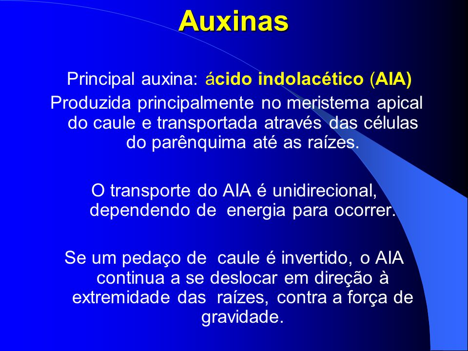 Principal auxina: ácido indolacético (AIA)