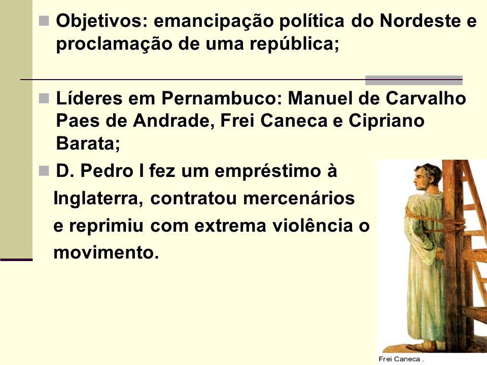 Objetivos: emancipação política do Nordeste e proclamação de uma república;