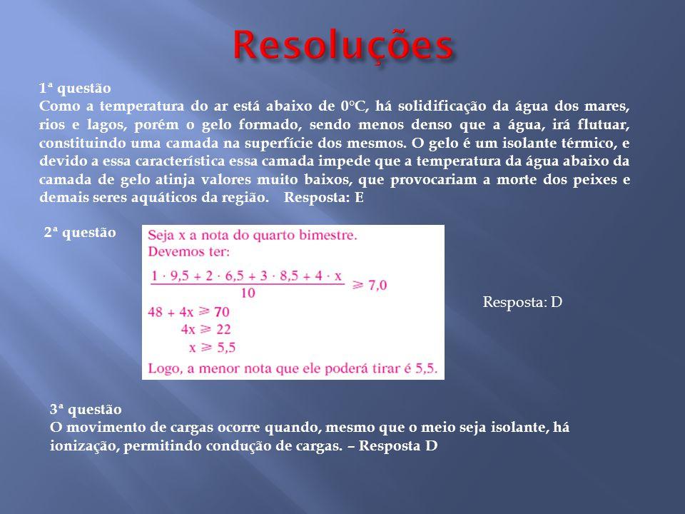 Resoluções 1ª questão.