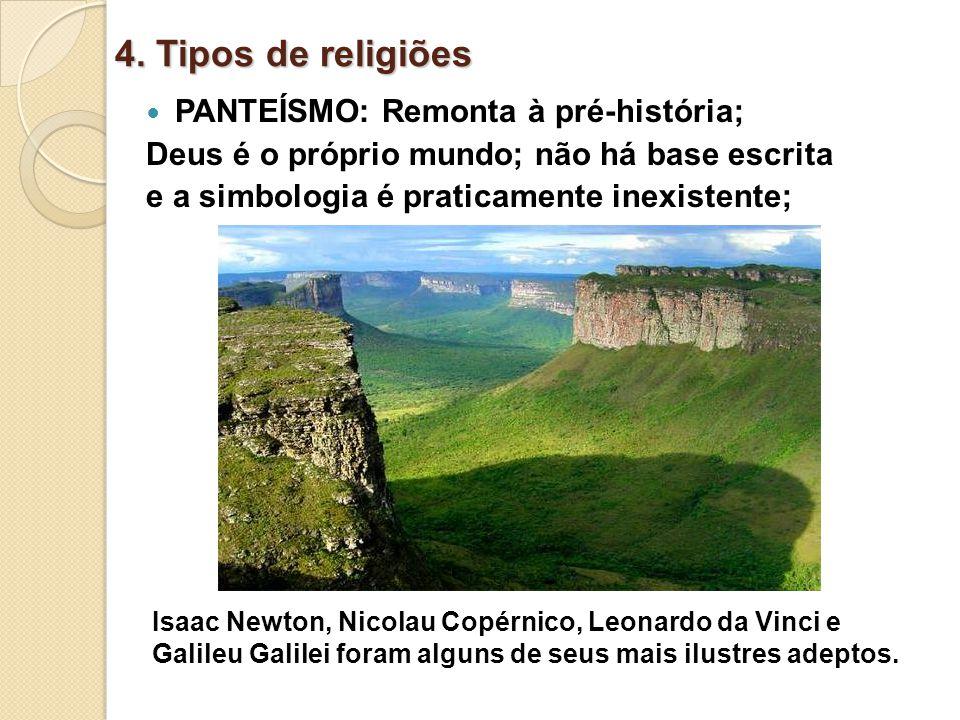 4. Tipos de religiões PANTEÍSMO: Remonta à pré-história;
