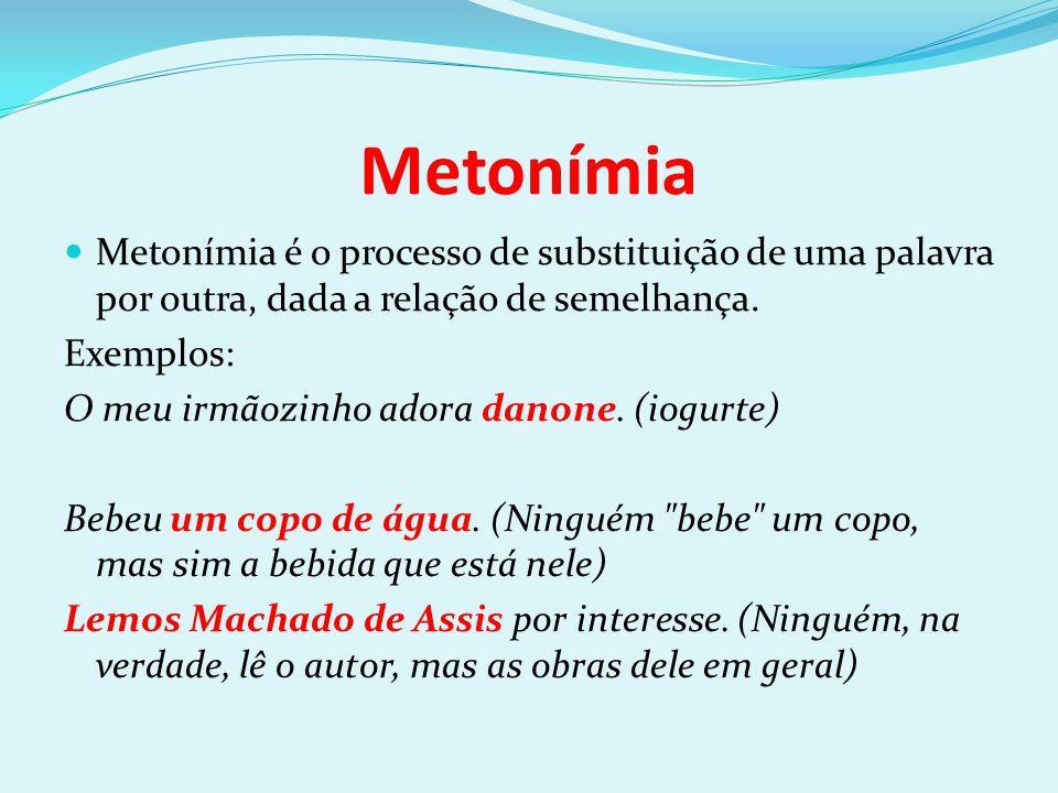 Metonímia Metonímia é o processo de substituição de uma palavra por outra, dada a relação de semelhança.