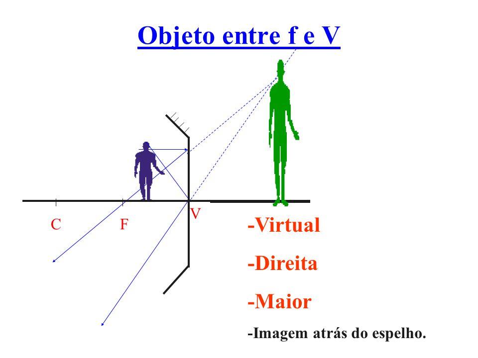 Objeto entre f e V -Virtual -Direita -Maior C F V