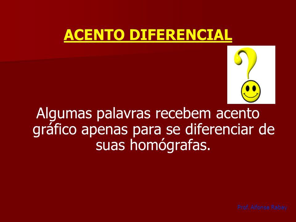 ACENTO DIFERENCIAL Algumas palavras recebem acento gráfico apenas para se diferenciar de suas homógrafas.