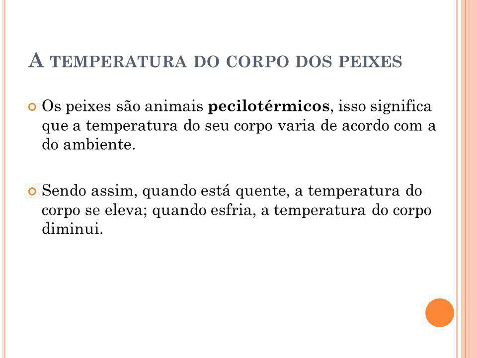 A temperatura do corpo dos peixes