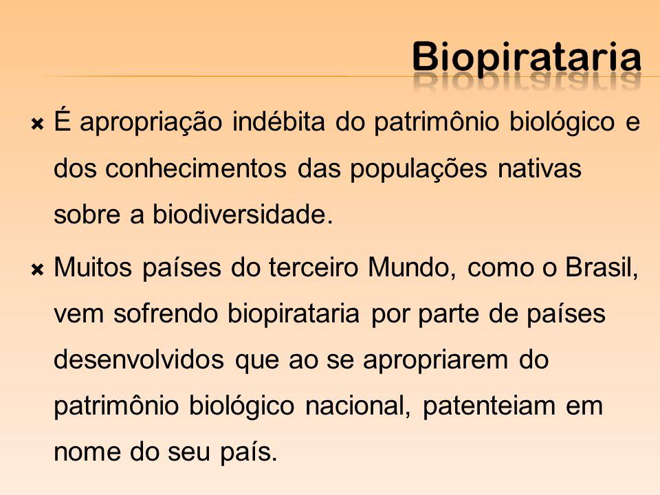 É apropriação indébita do patrimônio biológico e dos conhecimentos das populações nativas sobre a biodiversidade.
