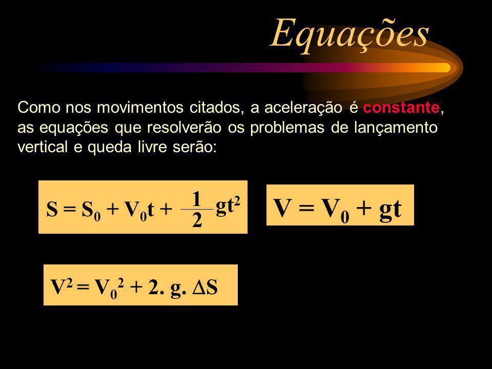 Equações V = V0 + gt 1 gt2 S = S0 + V0t + 2 V2 = V02 + 2. g. DS