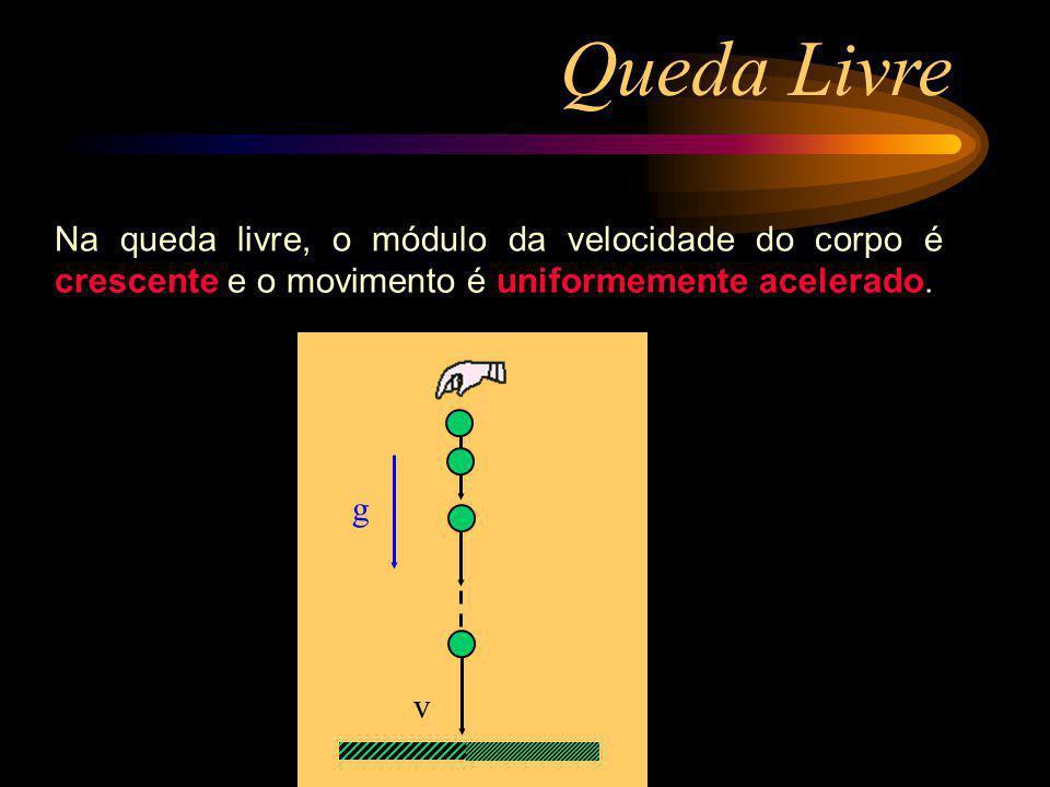 Queda Livre Na queda livre, o módulo da velocidade do corpo é crescente e o movimento é uniformemente acelerado.